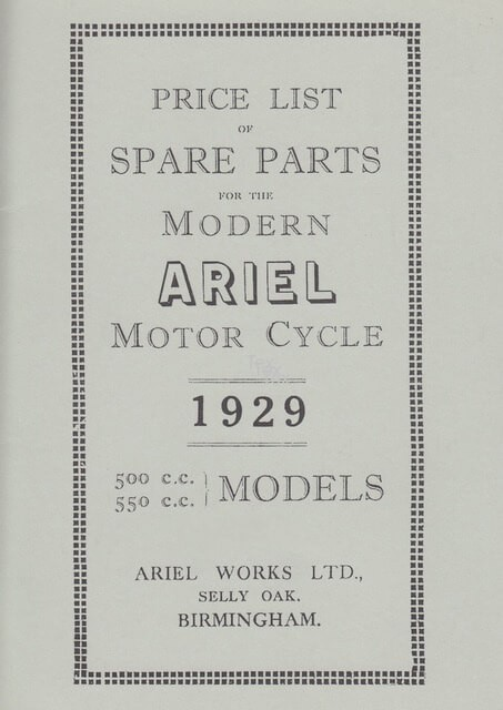 Ariel Motor Cycle 500 & 550 ccm 1929 Spare Parts