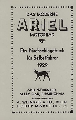 """Ariel """"Ein Nachschlagebuch für Selbstfahrer 1929"""""""