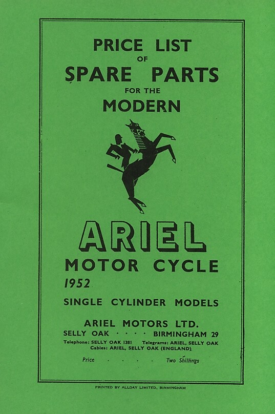 Ariel  Motor Cycle 1952 Single Cylinder Models Spare Parts