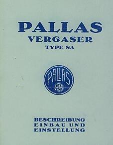 Pallas Vergaser Typ SA Betriebsanleitung
