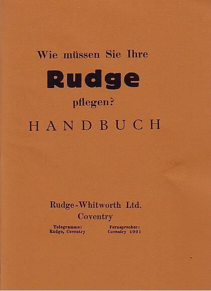 """Rudge """"Spezial"""", """"Ulster"""" und """"TT-Replica mit 250, 350 und 500 ccm 4-Ventil-Motor, Betriebsanleitung"""