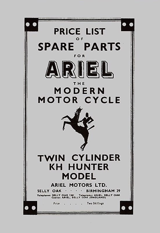 Ariel Motor Cycle KH Hunter Twin Cylinder Spare Parts