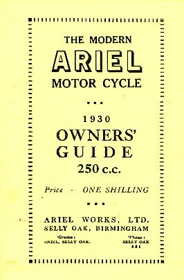 Ariel Motor Cycle 250 ccm 1930 Single Owner's Guide