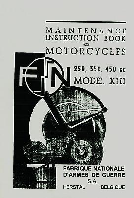 FN Mod. XIII, 250 / 350 O.H.V., 350 / 450 S.V., Seitenwagen, Betriebsanleitung