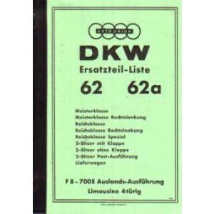 DKW F 8 Frontantriebswagen F 8 alle Modelle '39, Ersatzteilkatalog