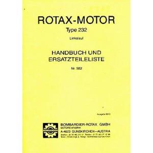 Rotax Motor Type 232, Linkslauf, Betriebsanleitung und Ersatzteilkatalog