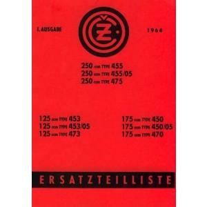 CZ Motorrad 125, 175, 250 ccm, Typen 453, 453/05, 473; 450, 450/05, 470; 455, 455/05, 475, Ersatzteilkatalog