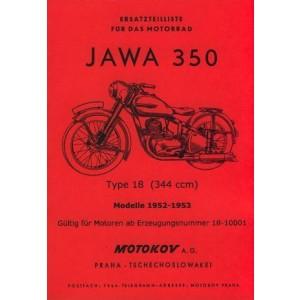 Jawa 350 Type 18, Modelle 1952-1953 Ersatzteilkatalog