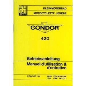 Puch Condor 420 (Schweizer Post ), ähnlich Puch X 30 Motorfahrrad, Betriebsanleitung
