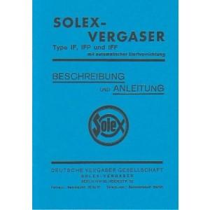 Solex Vergaser Type IF, IFP und IFF mit automatischer Startvorrichtung. Betriebsanleitung