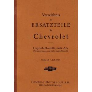 Chevrolet Capitol Serie AA Verzeichnis der Ersatzteile