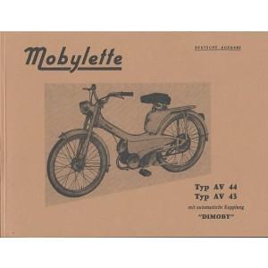"""Motobecane Mobylette AV 44 und 43 mit automatischer Kupplung """"Dimoby"""" Ersatzteilkatalog"""