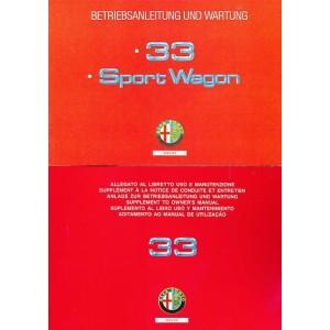 Alfa Romeo 33 Sport Wagon, Betriebsanleitung