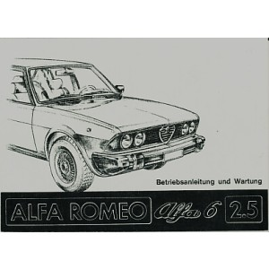 Alfa Romeo 6; 2,5 Liter, Betriebsanleitung