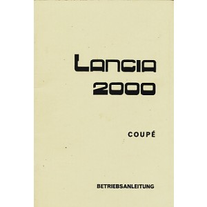 Lancia 2000 Coupé, Betriebsanleitung