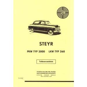 Steyr Typ 2000 PKW und Typ 260 LKW Ersatzteilkatalog