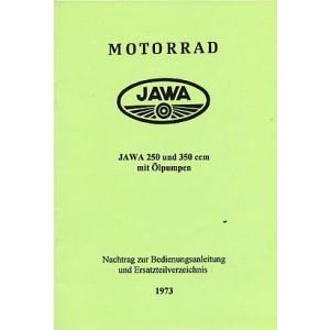 Jawa 250/350 mit Ölpumpe – Nachtrag zur Betriebsanleitung und Teilverzeichnis