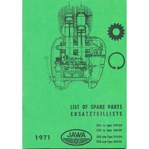 Jawa 250 und 350, 1- u. 2-Zylinder, für Typen 559/04 u. 360/00, Ersatzteilkatalog