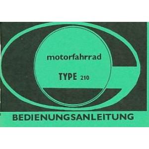 Jawa Motorfahrrad, Type 210, Betriebsanleitung