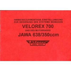 Velorex Beiwagen Typ 700 für Jawa 638 (350ccm), Anbau- und Betriebsanleitung