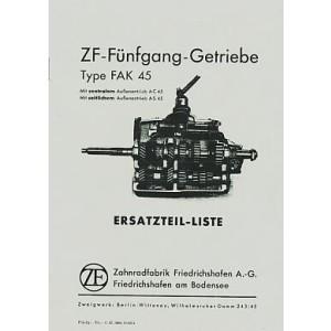 ZF 5-Gang-Getriebe, Type FAK 45, Ersatzteilliste