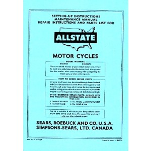 Allstate 175 Standard and De Luxe - Owners Manual, Repair Manual, Spare-parts Catalog