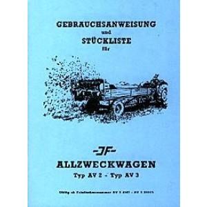 JF Allzweckwagen AV2 und AV 3, Betriebsanleitung und Ersatzteilkatalog