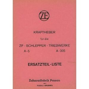 ZF Kraftheber für die Schlepper-Triebwerke A-5 und A-205, Ersatzteilkatalog