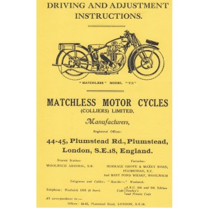 """Matchless Modell """"V/2"""", Driving and Adjustment Instructions"""