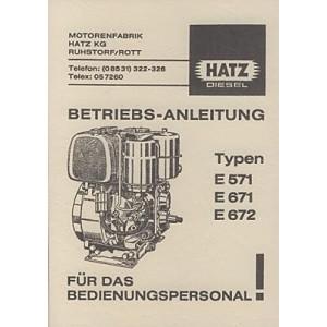 Hatz E 571, 671, 672 Dieselmotor, Betriebsanleitung