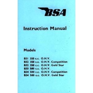 BSA B 31, B 32, B 33, B 34 Modelle Betriebsanleitung