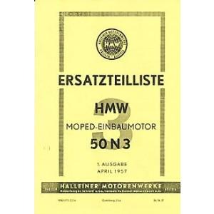 HMW 3-Gang-Einbaumotor 50 N 3 mit 2,2 PS, Ersatzteilkatalog