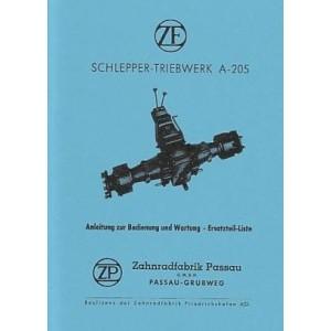 ZF A 205 – Schleppergetriebe, Betriebsanleitung und Ersatzteilkatalog