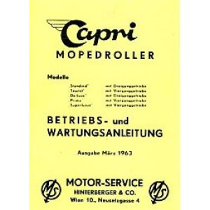 Capri Mopedroller Standard, Tourist, De Luxde, Prima, Superluxus Betriebsanleitung