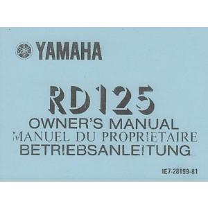 Yamaha RD 125, Betriebsanleitung