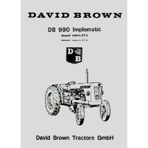 David Brown 990 Implematic, Mod. VAD 4 /47 A,  Mod. VAD 4 /47 B, Ersatzteilkatalog