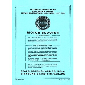 Allstate Sears Motor Scooter - Maintenance, Repair Instructions and Parts List