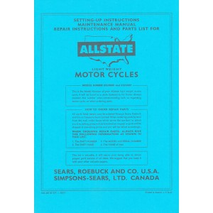 Allstate Sears Light-weight Motorcycle - Maintenance, Repair Instructions and Parts List