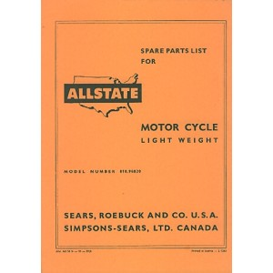 Allstate Sears Light-weight Motorcycle - Spare Parts List