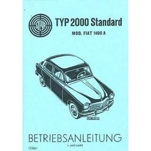 Steyr Typ 2000 Standard, Mod. Fiat 1400 A, Betriebsanleitung