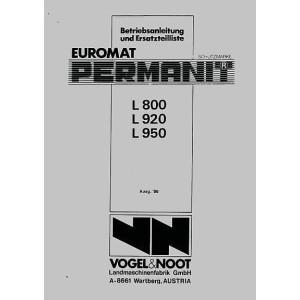 Vogel & Noot L 800, L 920, L 950 Euromat, Permanit, Volldrehpflug, Betriebsanleitung und Ersatzteilkatalog
