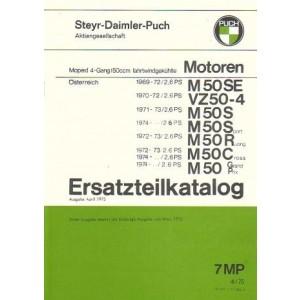 Puch 4-Gang-Motoren, fahrtwindgekühlt, M 50 SE , -4, S, Sport, R, Racing, C, Cross, GP, Grand Prix Ersatzteilkatalog
