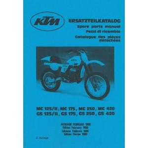 KTM Motorfahrzeugbau MC/GS 125/II, MC/ GS 175, MC/GS 250, MC/GS 420, Ersatzteilkatalog