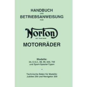 Norton 50, E.S.2, 88, 99, 650, 750, und Sport-Spezial-Typen, technische Daten für Jubilee 250 und Navigator 350 Handbuch