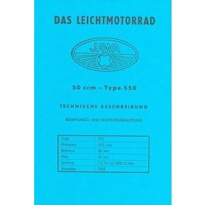 Jawa 550, 50 ccm, Leichtmotorrad, Betriebsanleitung