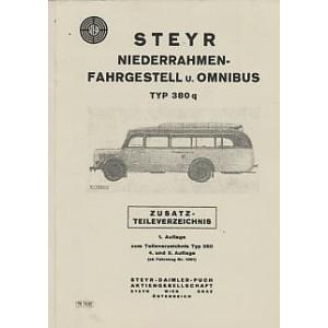Steyr 380 q Niederrahmenfahrgestell undOmnibus, Zusatz-Ersatzteilkatalog zum Teileverzeichnis Typ 380