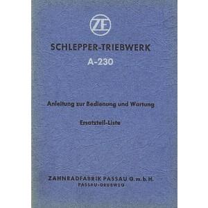 ZF A-230 Schlepper-Triebwerk, Betriebs- und Reparaturanleitung, Ersatzteilkatalog
