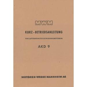 MWM Kleindieselmotor AKD 9, luftgekühlt, Kurz-Betriebsanleitung