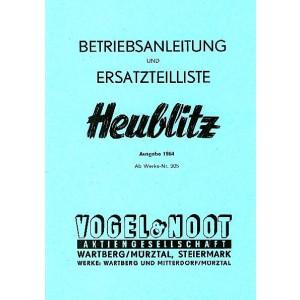 Vogel & Noot Heublitz, Betriebsanleitung und Ersatzteilliste