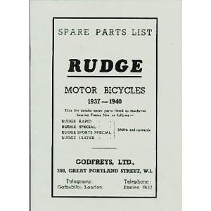 Rudge Rapid, Special, Sports Special, Ulster, Ersatzteilkatalog